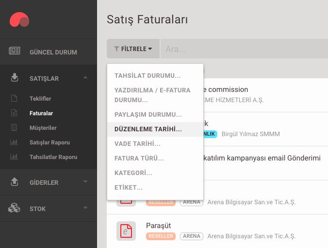 e-Faturaların aranması ve filtrelenmesi